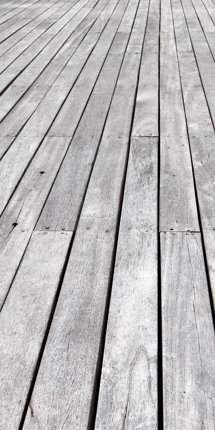 Wood deck floor before cleaning